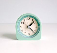 Mid Century Modern Alarm Clock - Mint Green, Teal, Cream - Electronic - 1970s Home Decor, Time, Morning. Wake up