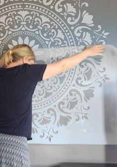 120 cm Big Mandala Wall Stencils for Painting - Furniture Stencils - XXL Mandala wall stencil, Diy Abschnitt, Patio Furniture Makeover, Diy Furniture Plans, Painted Furniture, Painted Feature Wall, Stencil Painting On Walls, Mandala Painting, Feature Wall Living Room, Moroccan Stencil, Mandala Stencils