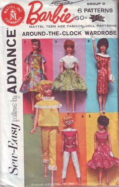 """Vintage Barbie c. 1962 Barbie Mattel Sew-Easy Patterns by Advance """"Around- The-Clock Wardrobe"""" 2896 Sewing Barbie Clothes, Barbie Sewing Patterns, Vintage Barbie Clothes, Easy Sewing Patterns, Doll Clothes Patterns, Vintage Sewing Patterns, Doll Patterns, Clothing Patterns, Barbie Shoes"""
