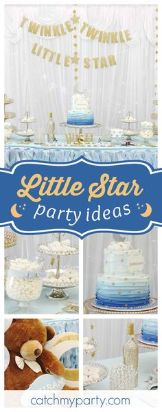 Check out this cute Twinkle Twinkle little Star birthday party. The birthday cake is fantastic!! See more party ideas and share yours at CatchMyParty.com