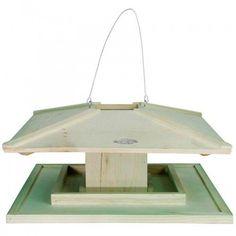 Prachtig vogelvoederhuisje FB10 van Esschert design, uitgevoerd in lichtgroen FSC-gekeurd hout, volgens Japans ontwerp. Makkelijk ophangen en bijvullen, groot genoeg voor veel vogels tegelijk!