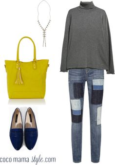 yellow and blue accents. patch distressed jeans + yellow bag + blue patent pointed flats + lariat + grey roll neck