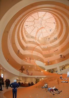 Interactive art, with a huge helping of awesome! This spiral net sculpture that was placed in the central space of the Guggenheim Museum from February 12th to April 28th, 2010.