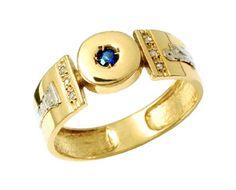 Anel de formatura decoração em ouro Amarelo 18k 750 com 6 diamantes de 1 ponto cada e  1 pedra natural redonda