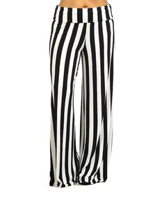 Look what I found on #zulily! Black & White Stripe Palazzo Pants - Plus by Pretty Young Thing #zulilyfinds