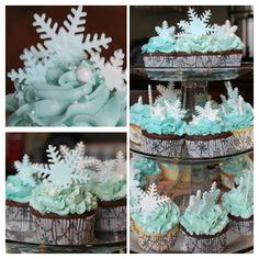 Snowflake cupcakes for Winter Wonderland theme boy baby shower