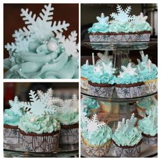 Snowflake cupcakes for Winter Wonderland theme boy baby shower