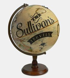 Personalized with your family's name, this globe comes with all the accoutrements to travel your world travels.