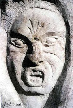 Purbeck limestone Emotion Sculptures #sculpture by #sculptor Diana Hoare titled: 'Anger' #art