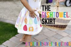 The Dishtowel Skirt, Make an easy skirt.....from dishtowels! I found these cute little Easter-themed towels from Target. An easy beginner sewing project.