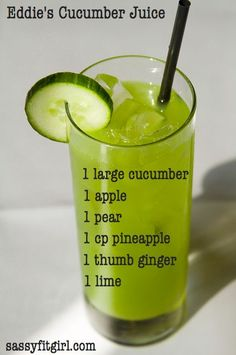 Eddie's Cucumber Juice Recipe. It's healthy, delicious and refreshing:) #healthyjuicerecipe #juicerecipe #SassyFitGirl