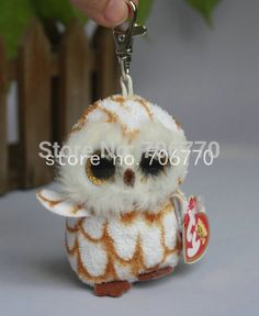 ty+beanie+key+chains | RARE Ty beanies Boo Cute Big eyes Animal ~OSWOOPS the OWL ~Plush Key ...