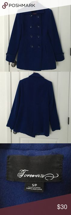 Forever 21 Blue Coat Used. In very good condition. No stains. Forever 21 Jackets & Coats