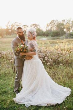 David's Bridal bride Jyame drop waist ball gown for her backyard vegan wedding/ Photo: Laura Goldenberger via @Offbeat Bride