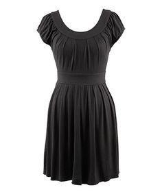 Look what I found on #zulily! Black Texture Scoop Neck Dress - Women by Peppermint Bay #zulilyfinds