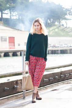 Sophie Lourdes Knight of Make. Do. Collective looks fresh in pants by Staring At Stars, Ali Golden top, Nero Cvoio shoes, and a handmade bag.