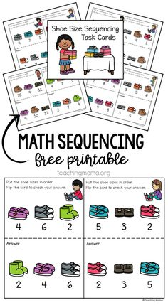 math sequencing task cards Sequencing Cards, Math Task Cards, Sequencing Activities, Preschool Learning Activities, Teaching Numbers, Free Math, Math Skills, Worksheets For Kids, Math Centers