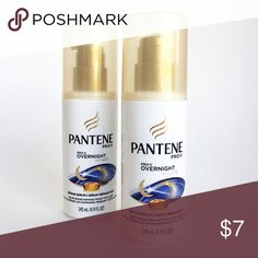 Pantene Pro-V Overnight Miracle repair hair serum 2 New, full size 4.9 FL OZ Pantene Overnight repair serum. The package says: Restore hair from damage while you sleep for a healthy looking start each morning. Leave hair smooth, shiny, and soft without leaving residue on your pillow. Weightless, non-sticky formula.  💕I use this regularly and like how silky my hair feels. I bought a bunch of these but you really don't need much and I thought I'd never get through them all so I'm selling my…