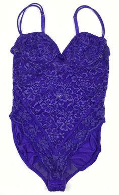 Victoria's Secret 36A Purple Lace Teddy Vintage Gold Label Sexy   eBay