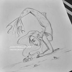 Mermaid one side person the other Mermaid Sketch, Mermaid Drawings, Mermaid Art, Amazing Drawings, Beautiful Drawings, Easy Drawings, Disney Kunst, Disney Art, Character Drawing