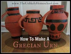Make tiny pots with toilet paper rolls and water balloons. Greek history/ancient history/Greek mythology craft art project for homeschool. Greece Unit: How to Make a Paper Mache Grecian Urn-The Unlikely Homeschool Ancient Greek Art, Ancient History, Egyptian Art, Ancient Aliens, Ancient Egypt, Ancient Greece Ks2, Ancient Greece Lessons, Ancient Greece For Kids, History Activities