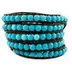Faceted Turquoise Wrap Bracelet!