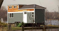 This two-toned home on wheels is made with steel stud construction, making it light and strong, able to withstand jarring potholes and other random bounces on the road.