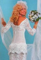 """Crocheted wedding dress """"pineapple"""" Not for me but still amazing that you could do it. I do like the extra ruffle on the bustle area though. Maybe this would be a nice lacey over skirt?"""