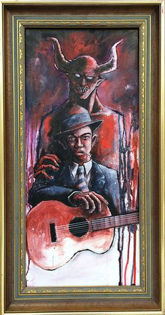 """The Devil & Robert Johnson"" acrylic painting on board 7th Dragon, Dark Art Photography, Robert Johnson, Music Illustration, Dark Art Drawings, Music Artwork, Lowbrow Art, Blues Music, Pop Surrealism"
