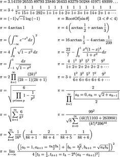 Algumas formas de escrever o Pi...