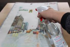 How to paint a rainy cityscape with watercolors, a step by step painting tutorial