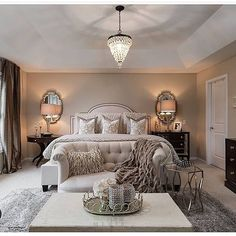 In love with @farahmerhi_'s stunning bedroom! #bedroom #chandelier #homedecor #homedesign #interiordesign #realestate #dreamhome #inspo #decor #beautifulhomes #luxury