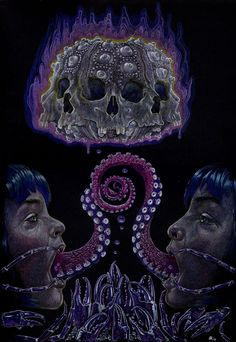 Dale Keogh uses colored pencil on black paper to make surreal art - From the  Empty Kingdom blog