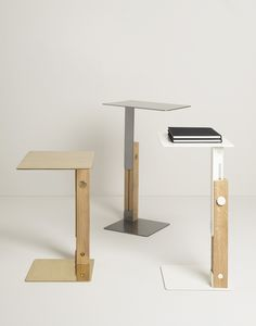 SLIDE is a beautifully designed side table with an easy to use sliding system. An artisanal adjustable table consisting of metal sheets and a wooden beam. http://vurni.com/slide-side-table/