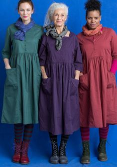 Dress in eco-cotton – Dresses & Tunics – Gudrun Sjödén Mode Outfits, Dress Outfits, Casual Dresses, Fashion Dresses, Dress Sewing Patterns, Clothing Patterns, Women's Clothing, Linen Dresses, Cotton Dresses