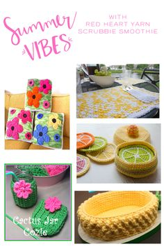 Crochet Gift Idea Set The Table Crochet Free Pattern RoundUp - I've rounded up a few fun and fabulous projects to celebrate summer and make your home or table settings bright Beach Crochet, Crochet Home, Crochet Gifts, Crochet Yarn, Free Crochet, Crochet Kitchen, Crochet Doilies, Afghan Crochet Patterns, Crochet Patterns For Beginners