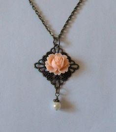 Peach Rose Flower Necklace Antique Brass by CreativePleasuresEtc, $14.00