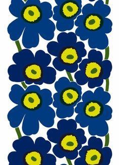 Unikko heavyweight cotton (white, blue, green) |Fabrics, Cottons | Marimekko