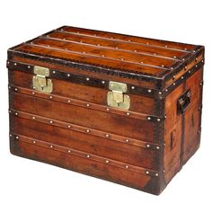 Est Pine English Edwardian C1910 Search For Flights Antique Steamer Trunk Chest Metal Lined