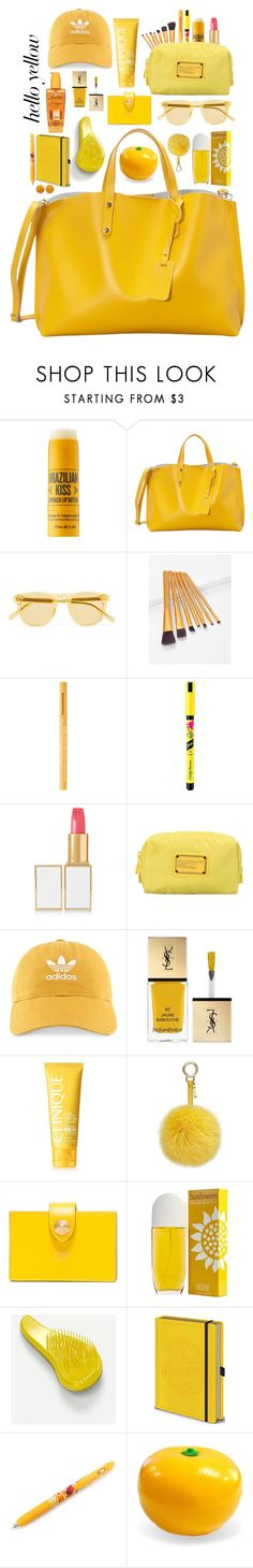 """""""💛what's in my bag?"""" by sewingmachine ❤ liked on Polyvore featuring Sol de Janeiro, SHARO, Chimi, Too Faced Cosmetics, Sally Hansen, Tom Ford, Marc by Marc Jacobs, adidas, Yves Saint Laurent and Clinique"""