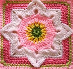 8 pointed flower square by Julie Yeager. Free ravelry download pattern