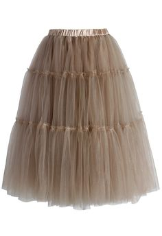 Chicwish Amore Tulle Midi Skirt in Caramel $50.92 sale ($59.90) One size.