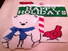 happy holidays perler sign