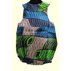 Unisex Green & Blue African Print - b/suit - Girls - Kids