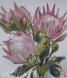 Cassandra's-proteas by Nicola Firth Oil ~ 1.4m x 1.2m