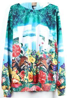 Light Blue Hooded Floral Tiger 50 Print Sweatshirt