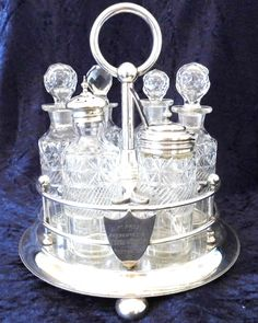 Antique Walker and Hall Silver Plated and Glass Table Cruet Set, Condiment Set, Presentation Piece, Six Glass Inserts, Large Size, Table