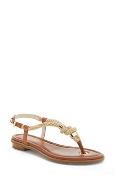 MICHAEL Michael Kors 'Holly' Leather Thong Sandal (Women) available at #Nordstrom