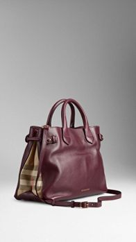 Medium House Check Detail Leather Tote Bag | Burberry