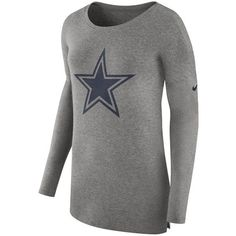 Nike Women's Dallas Cowboys Cozy Long Sleeve T-Shirt ($55) ❤ liked on Polyvore featuring grey and nike